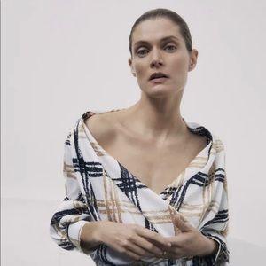 Zara Satin Effect Plaid Blouse